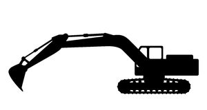 Silhouette the excavate. The silhouette of the excavate on a white background Royalty Free Stock Photo