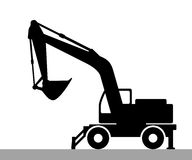 Silhouette the excavate. The silhouette of the excavate on a white background Royalty Free Stock Image
