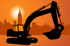 Silhouette of the excavator Stock Photos