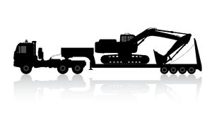 Silhouette of the excavator on the trawl. Royalty Free Stock Image
