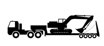 Silhouette of the excavator on the trawl. Royalty Free Stock Photography