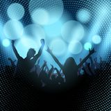 Silhouette of party crowd on a bokeh lights background. Silhouette of an excited party crowd on a bokeh lights background Stock Photos
