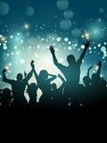 Silhouette of an excited party crowd Stock Images