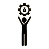 Silhouette executive man holding a gear wheel frame with money bag. Vector illustration Stock Photography