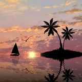 Silhouette of exotic island with palm trees Royalty Free Stock Images
