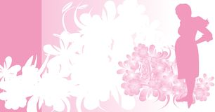 Silhouette of expectant mother. Card. Silhouette of expectant mother. Background for card. Vector illustration Royalty Free Stock Image