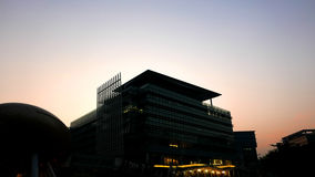 The silhouette of exterior office buildings. At sunset Royalty Free Stock Photography