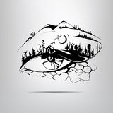 Silhouette eye in the form of the landscape.  illustration Stock Images