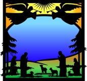 silhouette för ängeleps-nativity stock illustrationer