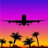 silhouette för 05 flygplan Arkivbilder