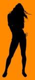 silhouette för 2 flicka Royaltyfria Bilder