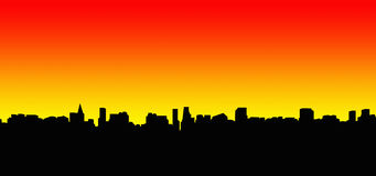 silhouette för 2 stad royaltyfria foton