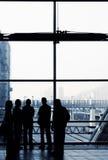 silhouette för affärsfolk Arkivbild