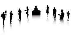 silhouette för affärsfolk Royaltyfri Fotografi
