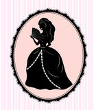 silhouette för bakgrundskvinnligpink Royaltyfri Foto