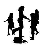 silhouette för clippingbana Arkivfoton