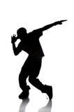 silhouette för dansarehöftflygtur fotografering för bildbyråer