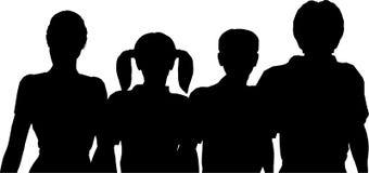silhouette för familj fyra royaltyfri illustrationer