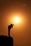 silhouette för fotograf s Royaltyfri Fotografi