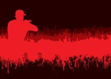 silhouette för konsertfolkmassarock Arkivfoton
