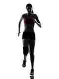 Silhouette för maraton för kvinnalöpare rinnande Royaltyfri Fotografi