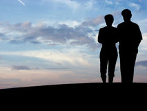 silhouette för par n1 s Royaltyfria Bilder