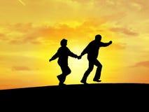 silhouette för par n3 s Arkivbild