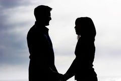 silhouette för par s arkivfoton