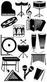 silhouette för samlingsinstrumentmusikal Royaltyfri Foto