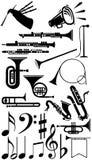 silhouette för samlingsinstrumentmusikal Royaltyfria Bilder