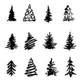 Silhouette fabriquée à la main d'élément de conception d'encre de course de brosse d'icône d'arbre de Noël Image stock