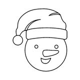 Silhouette face cartoon snowman christmas design. Illustration Stock Photography