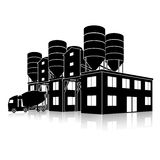 Silhouette factory building for the production of concrete with Royalty Free Stock Images