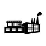 Silhouette factory smoke contamination icon. Vector illustration Stock Photos