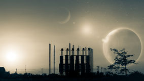 Silhouette of factory at sunset.Fantasy world.Image of earth pla Royalty Free Stock Image