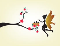 Silhouette of a fairy and bird - full color Royalty Free Stock Photo