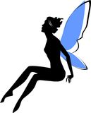 Silhouette of fairy. With blue wings Stock Photography