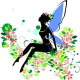 Silhouette of fairy. In flower Royalty Free Stock Photos