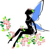 Silhouette of fairy. In flower Stock Image