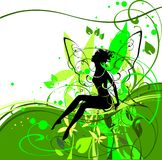 Silhouette of fairy. In flower Stock Images