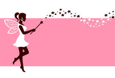 Silhouette of fairy with magic wand. Silhouette graceful fairies with wings and a magic wand on a pink background Stock Images