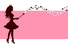 Silhouette of fairy with magic wand Stock Photo