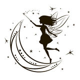 Silhouette of fairy with moon and stars. Girl magic beauty fantasy, vector illustration Royalty Free Stock Image