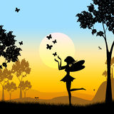 Silhouette Fairy Shows Faries Fairyland And Silhouettes. Butterflies Silhouette Representing Fairy Tale And Animal Stock Photos