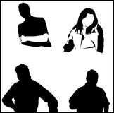Silhouette faite au hasard de gens Photos stock