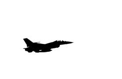 Silhouette falcon fighter jet military aircraft flying on white background Royalty Free Stock Image