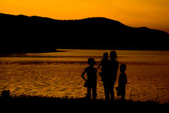 Silhouette of family Stock Images