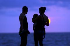 Silhouette Family Beach Stock Image