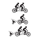 Silhouette of family on bicycles. Bicycle and tandem-bicycle. Royalty Free Stock Image