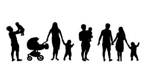 Silhouette of a family with children set on white background Stock Images
